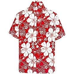 LA LEELA | Funky Camisa Hawaiana | Señores | Manga Corta | Bolsillo Delantero | Impresión De Hawaii | Playa | Hibisco Floral Flor Impreso Blood Rojo_W301 7XL - Pecho Contorno (in cms) : 178-183