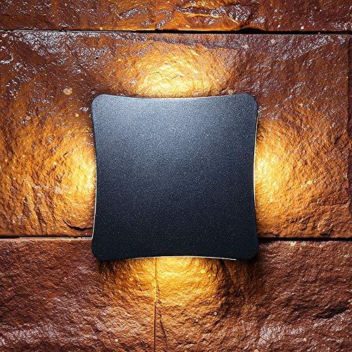 Mpotow Nordic Simple Moderno Creativo Simple Al aire libre Impermeable Piso Lámpara de pared Aluminio Vidrio LED Parche 4 Cabezas Forma de huevo Negro Pared Linterna Balcón Exterior del hotel Pared Co
