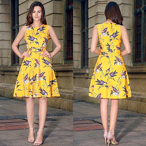 RUIYIGE Damen Kleid Bird-Yellow