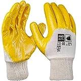 PRO FIT 12 Paar - Basic Nitril-Handschuh, gelb, 3/4 Beschichtet, Strickbund 9