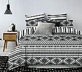 DecoKing Premium 84724 Bettwäsche 200x220 cm mit 2 Kissenbezügen 80x80 weiß schwarz Bettbezüge Microfaser Bettwäschegarnituren Geometrisches Muster Black White Hypnosis Oslo