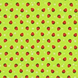 Dekostoff Rote Erdbeeren — Meterware ab 0,5m — Zum
