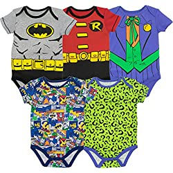 DC Comics Body de Superhéroes - Batman, Robin, el Joker y Riddler para Bebé-Niños (Pack de 5), Multi 0-3 Meses