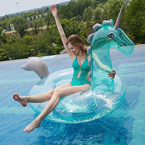 ANGAZURE-FR Aufblasbares Einhorn Luftmatratze, Pool Spielzeug Floß für Erwachsene & Kinder (Grünes Einhorn)