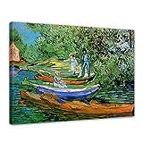 Bilderdepot24 Kunstdruck - Alte Meister - Vincent Van Gogh - Boote am Ufer der Oise - 40x30cm einteilig - Leinwandbilder - Bild auf Leinwand