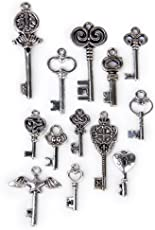 Anbau 13 Pieces/Set Vintage Mixed Assorted Key Shape Charms Pendants Beads Jewelry Findings DIY Crafts for Necklace Bag Keychain Findings