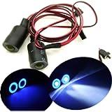 17mm 2 Leds Angel Eyes LED Light Headlights/Taillight for 1:10 RC Crawler Car (Blue+White)