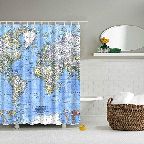 Duschvorhang Weltkarte 12 Haken Bad Dekorationen Badezimmer Dekor Sets mit Haken Hochzeit Geschenke für Kunstdruck Polyester Stoff Surf-quilt-set