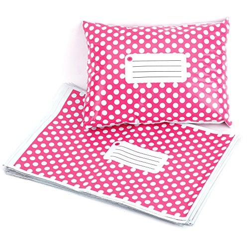 50pz 30,5x 38,1cm 305mm x 406mm rosa a pois plastica strong autosigillanti buste postale