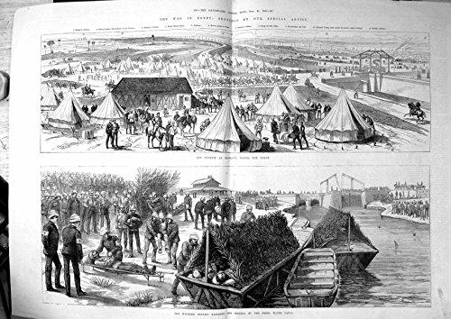 Alte-Ursprngliche-Antike-Viktorianische-Druck-Kriegs-gypten-Position-Kassassin-Zelte-Verwundeten-das-Lassen-Kanal-von-1882-156TJ781