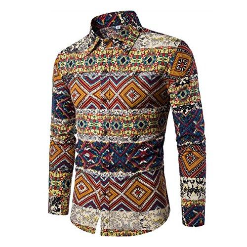 Allthemen Herren Blumen Art-langärmliges Blumen Hemd Casual Shirt Muster