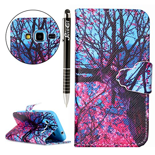 SainCat Coque Etui pour Apple iPhone 4/4s,Anti-scratch Cuir Dragonne Portefeuille PU Cuir Etui pour iPhone 4s,Coque de Protection en Cuir Folio Housse,SainCat PU Leather Case Brillant Glitter Wallet F Les feuilles rouges
