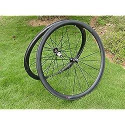 Full Carbon 3K Mate Bicicleta de carretera Clincher Wheel Rim 38mm lado ancho de 25mm, basalto freno Toray ruedas carbono para Shimano 8/9/10/11S