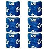 YoGou 6 Rollen Selbsthaftende cohesive Bandage Haftbandage Elastischer Fixierverband Verband elastische Binde 5 cm 4,5 m (blau&weiß Pfotenabdrücke)