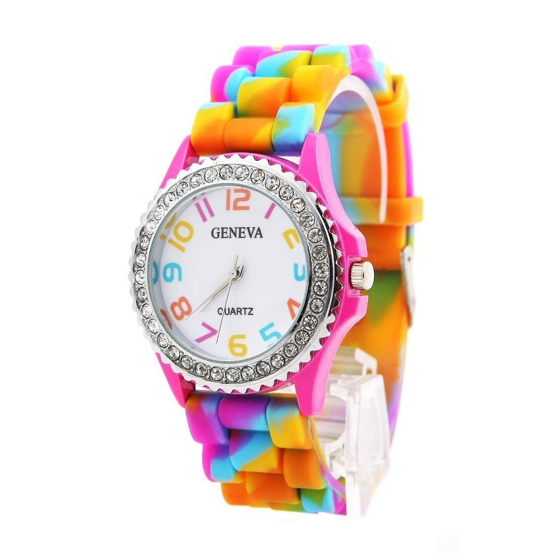 JewelTime Geneva Rainbow Crystal Rhinestone Watch Silicone Jelly Link Band