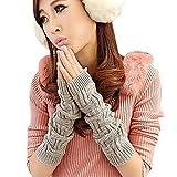 TININNA Winter Warm Gestrickte Armwärmer Fingerlose Armstulpen Strick Handschuhe Pulswärmer Handstulpen Stulpen für Damen Mädchen Grau