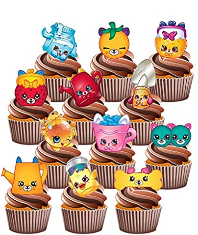 Shopkins Petkins Birthday Party Pack - Edible Stand-up Cup Cake Toppers (pack of 36)
