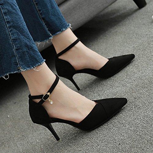 Baotou 7Cm Femme Mot Un Noir Buckle Talons Fait Sandales Chaussures Couleur unie Ressort Fée SHOESHAOGE Bien Avec w16vW