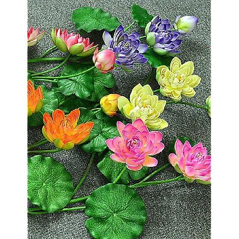 kiuytghnb piccolo Lotus Foglia di loto decorazione floreale EVA plastica loto fiori artificiali