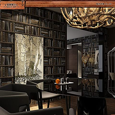 YC American retro 3D Bookshelf wallpaper-style faux living room bookcase bedroom corridor study background wallpaper
