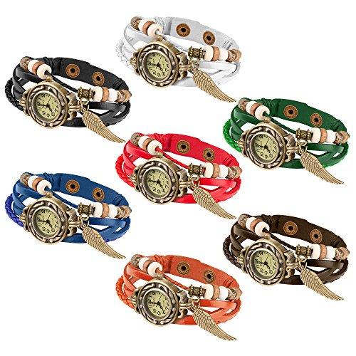 Taffstyle Damen-Armbanduhr Retro Vintage Geflochten Leder-Armband mit Charms Anhänger Analog Quarz Uhr Flügel