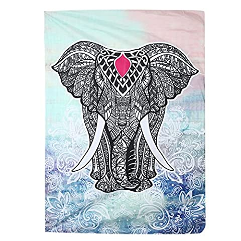 Demiawaking Elephant Tapestry Wall Hanging Indian Tapestry Wall Carpet for Living Room Bedroom Home Decoration (L: 148 x 210 cm,