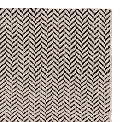 """URBANARA Teppich """"Kolvra"""" - 100% Baumwoll- und Wollmischung, Schwarz/Weiß im Fischgratdesign - 200 x 300 cm"""