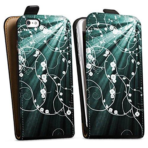Apple iPhone X Silikon Hülle Case Schutzhülle Blumen Muster Licht Downflip Tasche schwarz