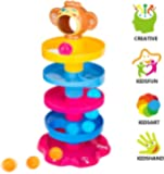 Prime Deals Monkey Ball Drop Toy for Babies and Toddlers | New 5 Layer Tower Run with Swirling Ramps and 3 Puzzle Rattle Balls | Best Educational Development Toy Set for Kids