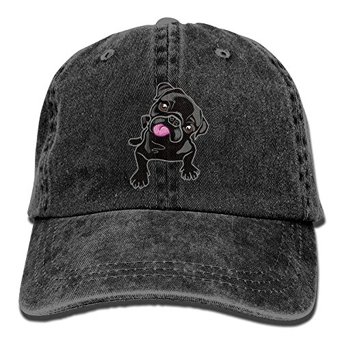 Presock Black Pug Adult Cowboy Baseball Caps Denim Hats for Men Women - Baumwolle Confederate Flags