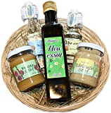 Allgäuer Delikatessen Geschenkkorb | Feinkost Geschenkset mit Feigen- und Bärlauchsenf, Heu-Essig, Williams-Birnenbrand und Allgäuer Obstbrand