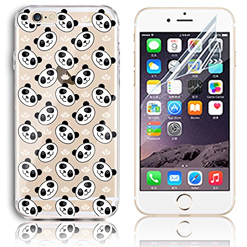 iPhone 6 Case,iPhone 6S 4.7 Inch Silicone Gel Case with Free Screen Protector, Sunroyal Clear Shock Proof Soft Durable Scratch Resistant Rubber Soft TPU Transparent Protective Case Cover Skin Shell for iPhone 6 6S with Beautiful Colourful Pattern Design - Many Panda Test