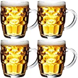 Frabjous Clear Glass Bubble Style Barware Beer Mug, Set Of 4, 350 Ml