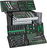 Black Green XXL Edition | Werkzeugwagen | Werkstattwagen | 7 Schubladen gefüllt mit Werkzeug | Bit Sets, Ratschen, Nüsse und vieles mehr...
