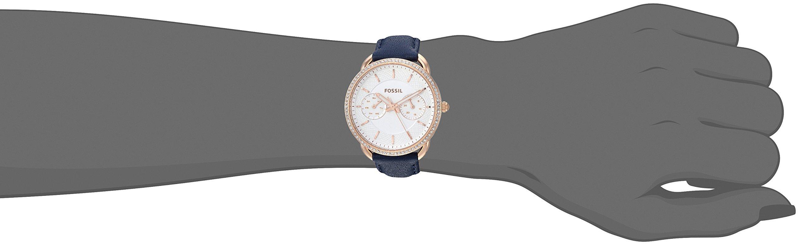 Fossil ES4394 Uhr Damenuhr Lederarmband vergoldet 5 bar Analog Datum Blau