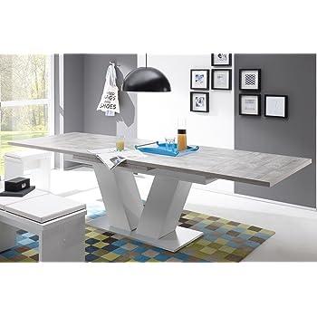 Esstisch Ausziehbar Komfort Tisch 180 280 Beton Weiss Edelstahloptik