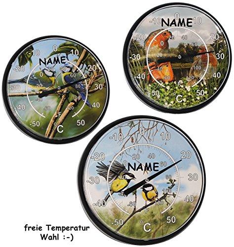 alles-meine.de GmbH 2 Stück _ XL Wand Thermometer / Lernthermometer -  Gradzahl INDIVIDUELL einstellbar :- - incl. Namen -  Bunte Vögel  - OHNE richtige Funktion - Kinderther..