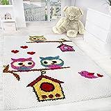 Paco Home Kinderzimmer Shaggy Teppich Eulen Kinder Teppich Hochflor in Creme Mehrfarbig, Grösse:140x200 cm, Farbe:Creme Beige