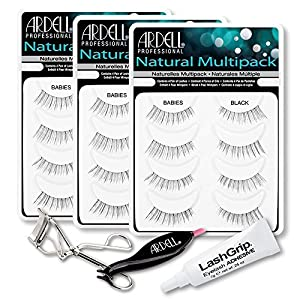 Ardell Fake Eyelashes Babies Value Pack - Natural Multipack Babies (Black, 3-Pack), LashGrip Strip Adhesive, Dual Lash Applicator, Cameo Eyelash Curler -Everything You Need For Perfect False Eyelashes by Ardell