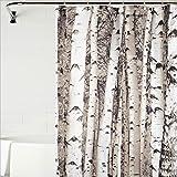 Blanco abedul impresiones baño ducha cortinas poliéster impermeable y moho