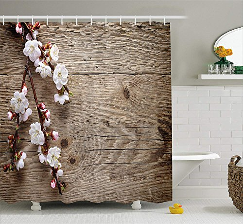 LZHsunni88 Rustic Home Decor Shower Curtain by, Romantic Spring Cherry Blossom Branch Over Old Table Love Valentines, Fabric Bathroom Decor Set with Hooks, 70 inches, Brown White -