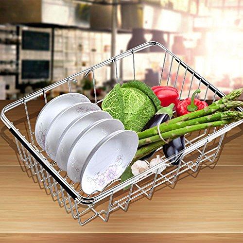 Geschirrkorb Abtropfgestell für Spüle, homeyoo Verstellbare Edelstahl-über Spüle Gemüse Rack Trocknen Rack, Küche Sieb Organizer für Gemüse und Obst silberfarben