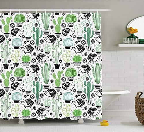 ABAKUHAUS Cactus Cortina de Baño, Dibujo Inspiración Caricatura Bonitos Erizos Animales Saguaro y Nopal, Material de Colores Vibrantes Estampas Personalizadas Antimoho, 175 X 200 cm, Verde