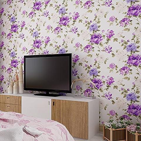 rural Style Pivoine Fleur en relief papier peint–33'(10m), rouleau complet, violet