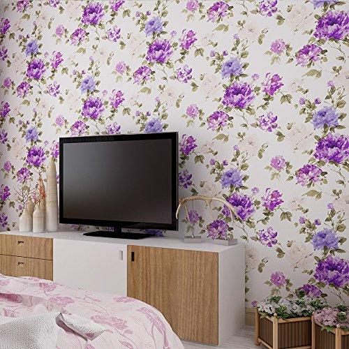 Ländlichen Stil Pfingstrose Blume 3D Prägung Tapete–33'(10Mio.), Rolle, die ganz, violett (T-shirt Top Garden Tea)