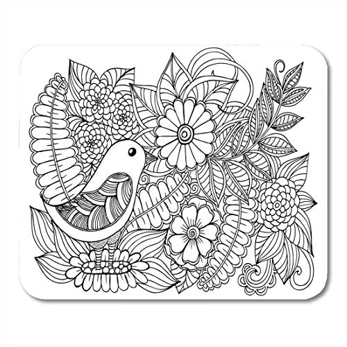 Deglogse Gaming-Mauspad-Matte, Adult Black Book Bird and Wildflowers White Page Flower Mouse Pad, Desktop Computers mats