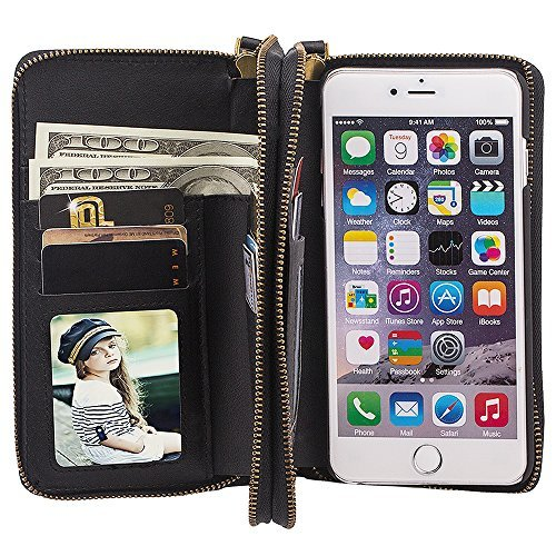 FLY Samsung S8 PU Leather Wallet Detachable Phone Case Magnetic Back Cover with Card and Cash Holder Black