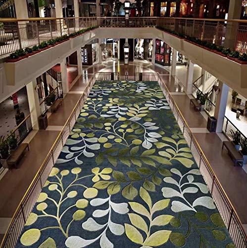 WXDD Fußmatten Flurteppichflorenteppichblumenmuster des Wohnzimmers Balkon-Schlafzimmer 3D volle Hauptfußbodenmatte Fußmattenauflagenanpassung, 70x200 Zentimeter, grüne Blätter - Blatt Esszimmer-möbel