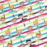 0,5m Jersey Ballerinas auf Streifen Pink-Hellgrün-Türkis 95% Baumwolle 5% Elasthan Meterware 140cm Breit