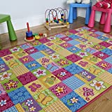 Colourful Fun Pink Butterfly Patchwork Girls Rug 133x200cm